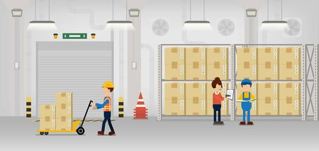 Warehouse in process with workers working flat design vector illustration Ilustração
