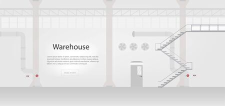 Factory interior banner with space vector illustration