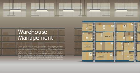 Warehouse management banner with boxes on racks flat design vector illustration