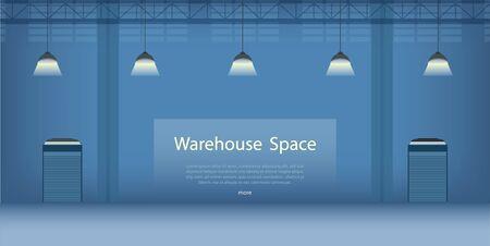 Bannière intérieure d'entrepôt avec illustration vectorielle espace Vecteurs
