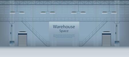 Warehouse interior banner with shutter door closed vector illustration