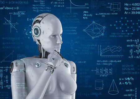 Machine learning concept with 3d rendering female cyborg solve math problem Stockfoto