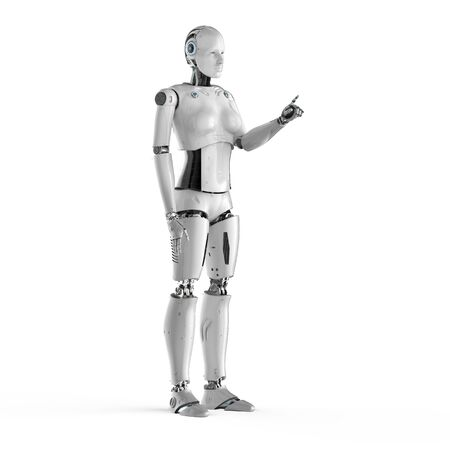 3d rendering female cyborg or robot finger point on white background Banco de Imagens
