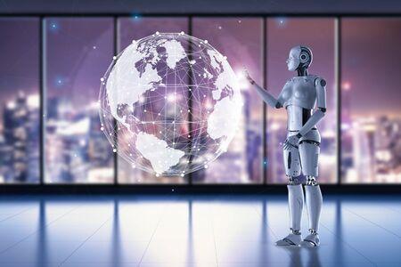 Concept de technologie de mondialisation avec un robot féminin de rendu 3d travaillant sur un affichage graphique mondial