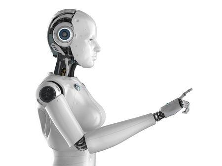 3d rendering female cyborg or robot finger point