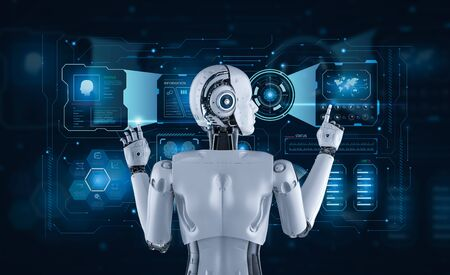 3d rendering female cyborg or robot with graphic display