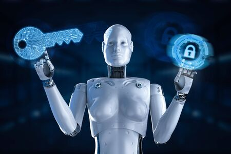 Cyber security concept with 3d rendering female cyborg or robot work with keypad lock