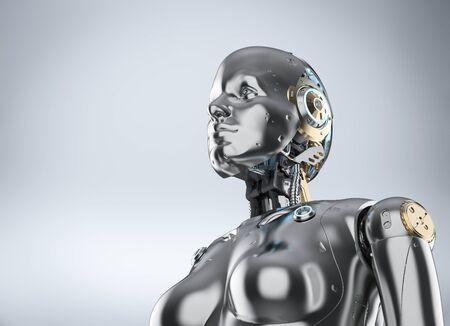 3d rendering metallic female cyborg or robot