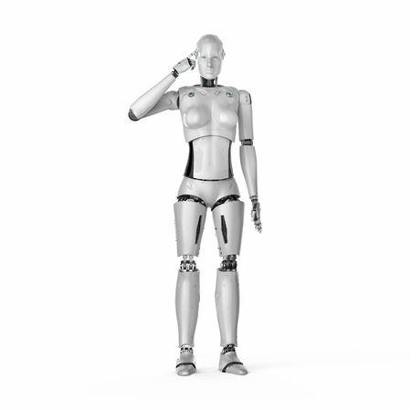3d rendering female cyborg or robot thinking Banco de Imagens
