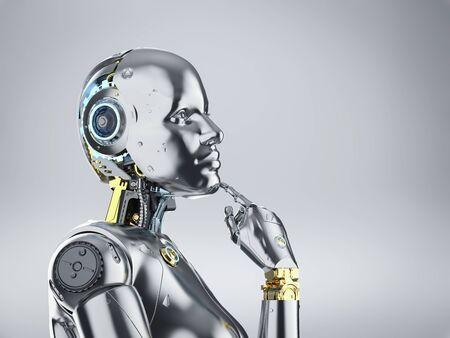 3d rendering metallic female cyborg or robot thinking Banco de Imagens