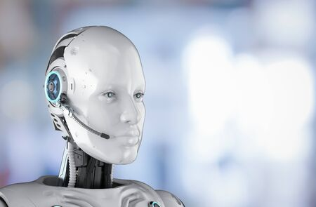Chat bot concept with 3d rendering humanoid robot with headset