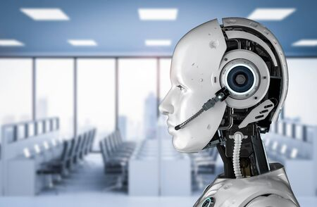 Chat bot concept with 3d rendering humanoid robot with headset in office Stok Fotoğraf