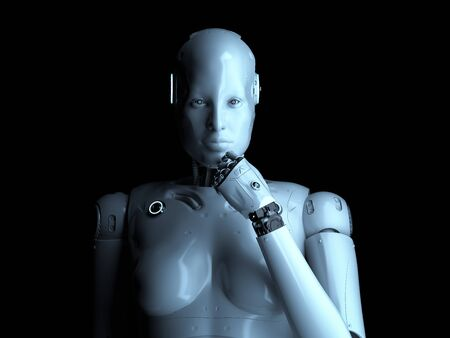 3d rendering female cyborg or robot thinking on black background