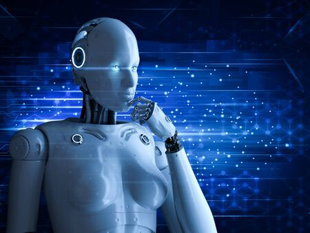 3d rendering female cyborg or robot thinking on blue background