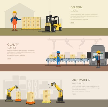 Set of warehoue banners with worker in process vector illustration 일러스트