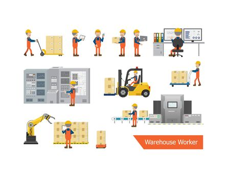 Set of warehouse worker character vector illustration