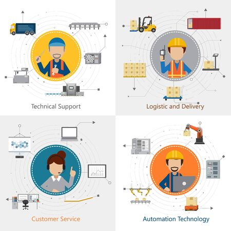 Four square industrial department with workers and equipments flat design vector illustration