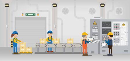 Linea di produzione in fabbrica con il lavoro del lavoratore con illustrazione vettoriale di design piatto della macchina e del nastro trasportatore