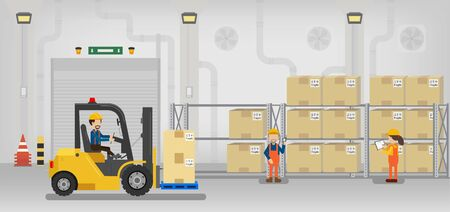 Warehouse in process with workers working flat design vector illustration Vector Illustration