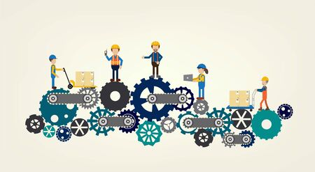 Industrial workers on gears flat design Illustration