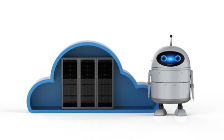 Cloud computing technology 3d rendering android robot with server in cloud