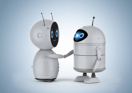 3d rendering android robot or artificial intelligence robot hand shake