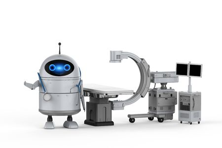 Medical technology concept with 3d rendering android robot with C-Arm machine