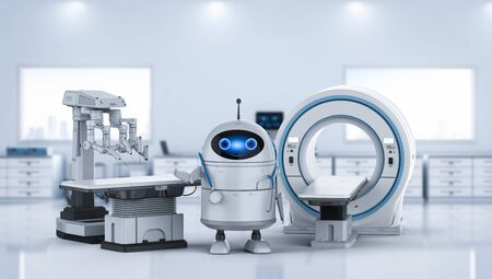 Medical technology concept with 3d rendering android robot with mri scan machine and surgery robot