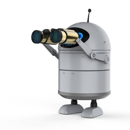 Automatic search engine concept with 3d rendering android robot or artificial intelligence robot with binoculars Reklamní fotografie