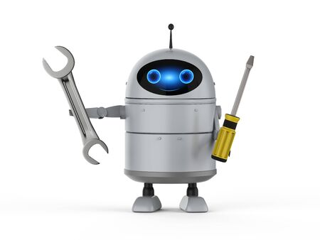 3d rendering android robot or artificial intelligence robot with screw driver and wrench
