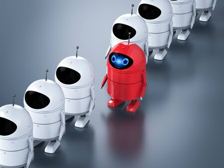 Leadership concept with 3d rendering red android robot stan out of line