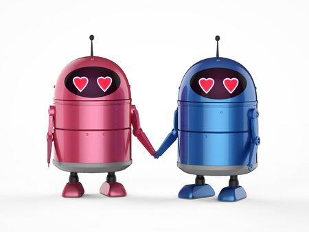 Automation matchmaker concept with 3d rendering android robot or artificial intelligence robot with cartoon character in love Stock fotó
