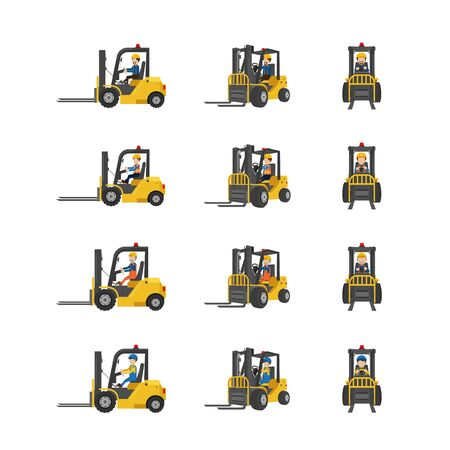 Set of forklift trucks with workers drive in three angles vector illustration 일러스트