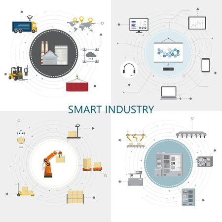 Four square smart industry concept with factory and warehouse equipments flat design vector illustration