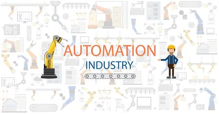 Automation industry concept with robots and machines flat design vector illustration