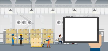 Hand hold empty screen tablet in warehouse with workers working flat design vector illustration