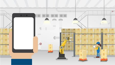 Hand hold empty screen mobile phone in warehouse with workers working flat design vector illustration