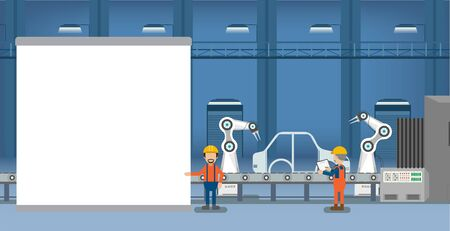 Empty screen in automobile factory with robot assembly line and engineers flat design vector illustration