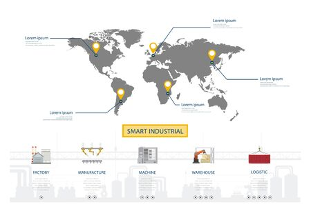 Smart industry infographic with world map and factory with equipment flat design vector illustration Ilustração