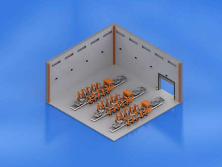 3d rendering factory interior with robot assembly line isometric