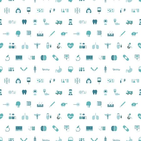 Medical icons with seamless pattern on white background vector illustration