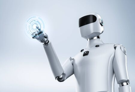 3d rendering artificial intelligence cyborg or robot finger point  on white background