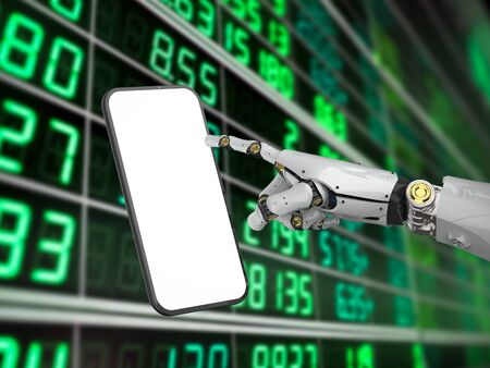 Mobile banking technology concept with 3d rendering artificial intelligence cyborg or robot hand with blank screen mobile phone Banco de Imagens