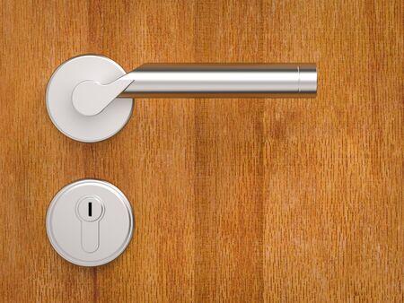 3d rendering metallic door handle on wooden background