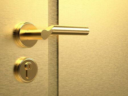 3d rendering golden door handle on gold background