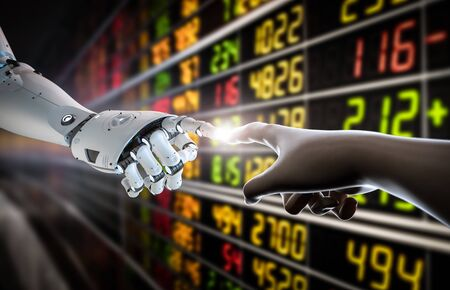 Financial technology concept with 3d rendering human finger connect to robot finger Banco de Imagens