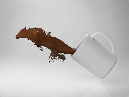 3d rendering a cup of coffee splash
