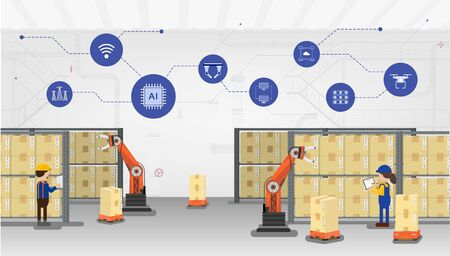 Automation warehouse concept with robotic arms and workers flat design vector illustration
