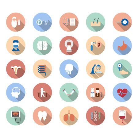 Iconos médicos con una larga sombra en la ilustración de vector de fondo blanco Ilustración de vector