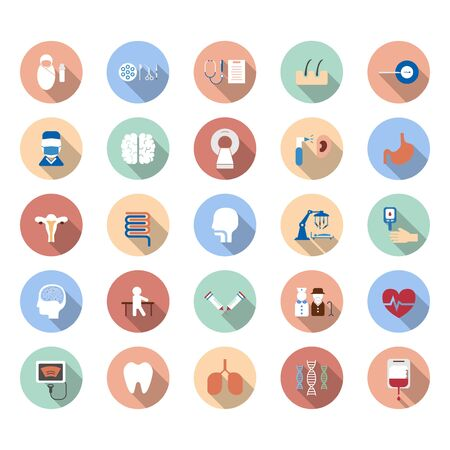 Medical icons with long shadow on white background vector illustration Ilustracja